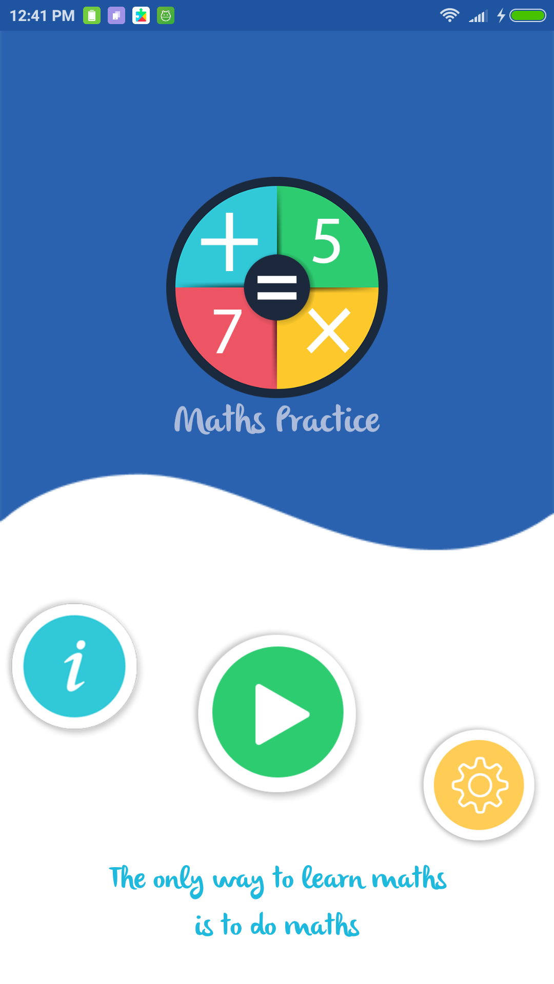 maths practice - app - home screen - android - source code - free - arkayapps