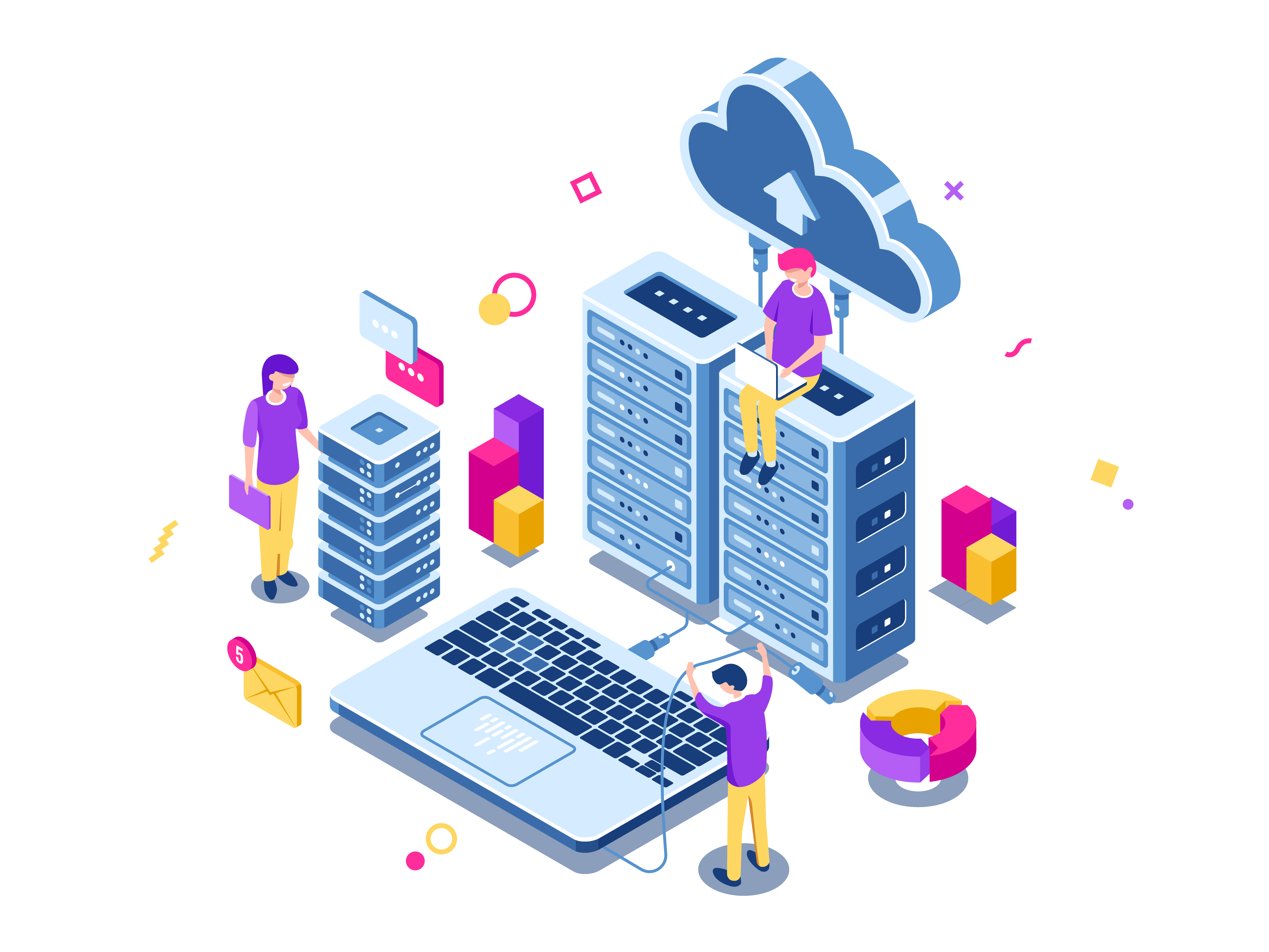 Big data center, server room rack, engineering process, teamwork, computer technology, cloud storage, command work, isometric people vector