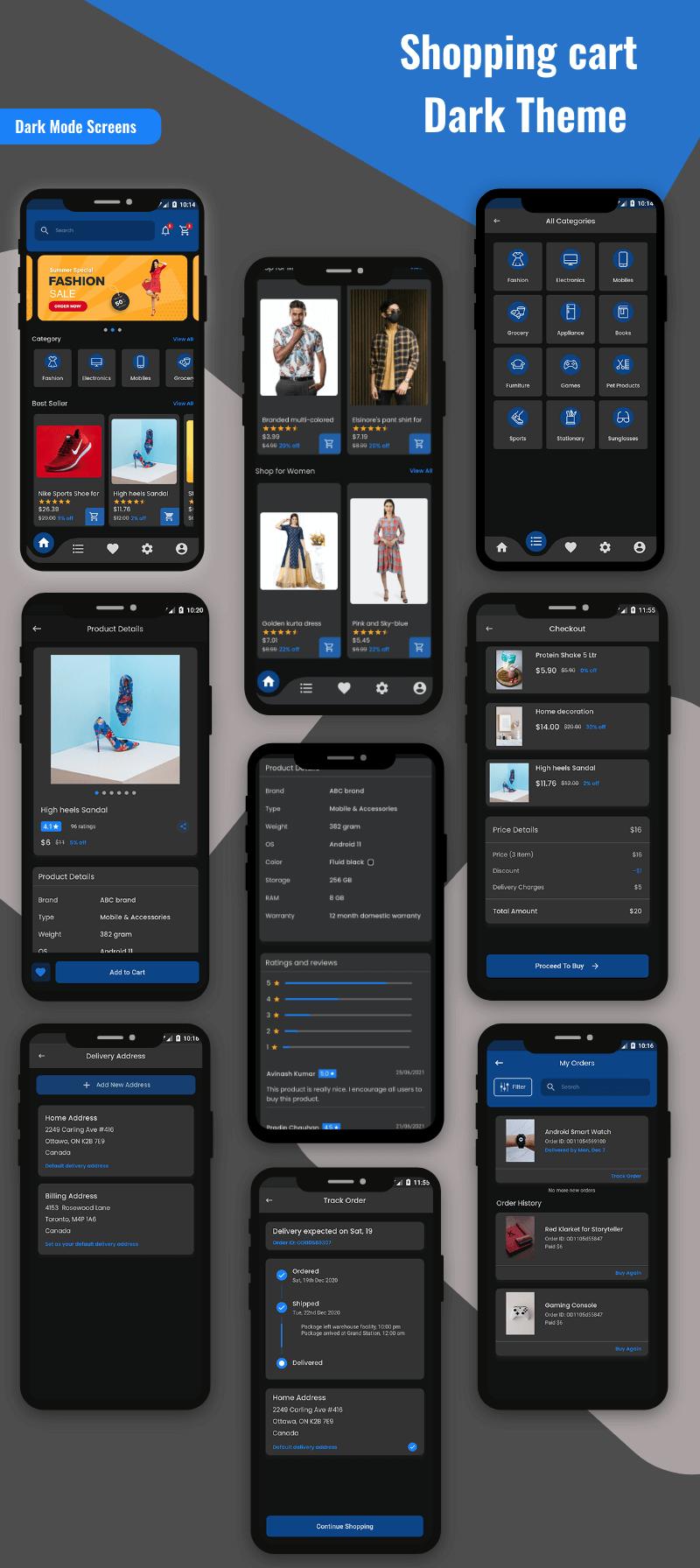 KIT d'interface utilisateur de panier d'achat Flutter - 2